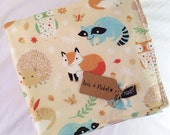 Organic baby blanket blankie. Woodland Animals. Gender neutral. Small Organic Baby Blanket. Baby Blanket by Avie and Mabel.