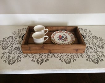 reclaimed cedar stained serving tray // decorative tray with metal handles