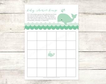 Baby Shower Bingo Game Card Printable DIY Green Whale Waves Grey Cute Baby  Gender Neutral Digital