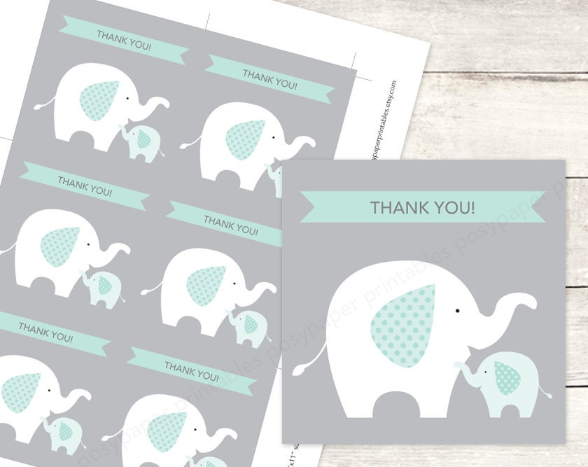 Elephant baby shower favor tags printable diy baby elephants for Printable baby shower favor tags