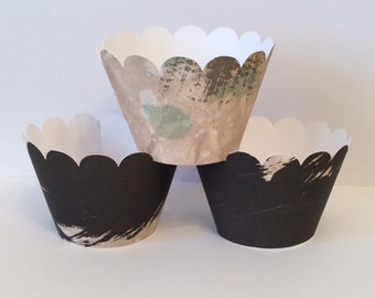 Set of 6 Paint Stroke Black & Tan Cupcake Wrappers, Party decorations, cupcake holders, party supplies, cupcake wraps, sleeves, paper goods
