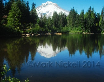 Mt. Hood Reflection 1, Oregon Photograph Mountain Lake Reflection Nature Photography, Portland Oregon USA Pacific Northwest