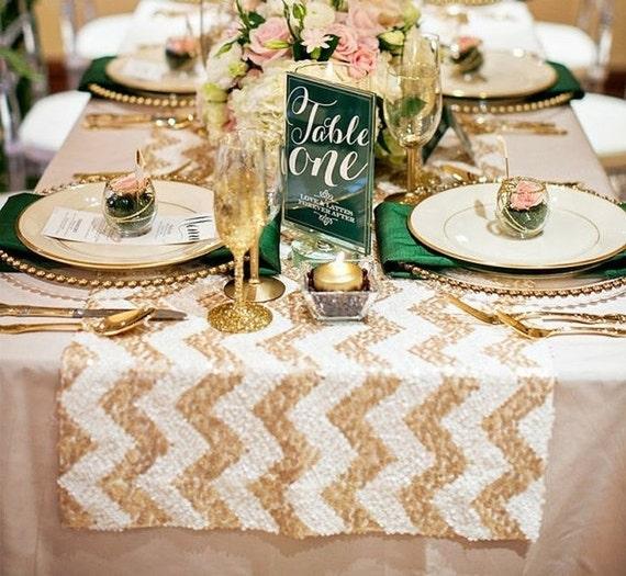 chevron gold sequin table cloth