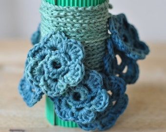 Flower Crochet Garland, Nursery Decor, Green Crochet Flower Bunting, Party Bunting, 100% Egyptian Cotton