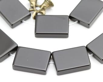 Black Onyx Smooth Flat Rectangle Gemstone Beads,15 Inches Strand,10x14mm,12x16mm,13x18mm