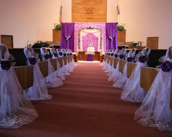 Purple Pew Bows Chair Bows Elegant Wedding Bows Pew Church Aisle Decorations