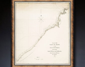 "Dubai map 1822, Old map of Dubai UAE, 16x20"" (40x50 cm) or 20x24"" (50x60 cm) United Arab Emirates, also in blue - Limited Edition of 100"