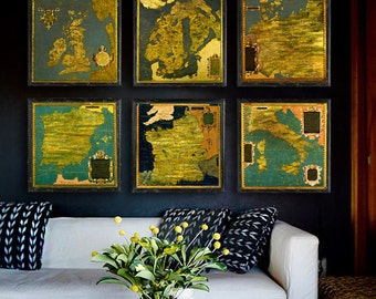 """Old maps of Europe 1560-1590, Set of 6 maps, 4 sizes up to 36x36"""" 90x90cm painted maps of Italy, Spain, France, UK - Limited Edition of 100"""