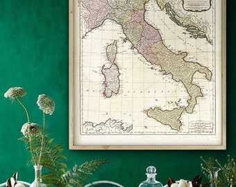 "Map of Italy 1794, Vintage Italian map in 4 sizes up to 36x43"" (90x110 cm) Old Italy map - Limited Edition of 100"