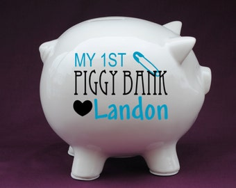 Baby's My 1st Piggy Bank Personalized Piggy Bank with Vinyl Decal-Great Custom Piggy Bank gift for baby showers,new baby gifts,baby baptisms