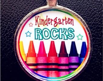 Kindergarten Rocks pendant Kindergarten Rocks necklace Back to School Kindergarten jewelry Kindergarten necklace Kindergarten pendant
