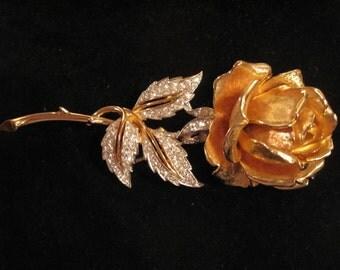 Vintage Boucher Rhinestone Crystals Rose Brooch