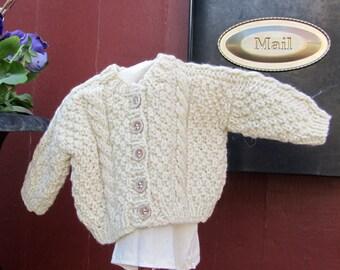 """18"""" Doll's Saddle Shoulder Aran Cardigan"""