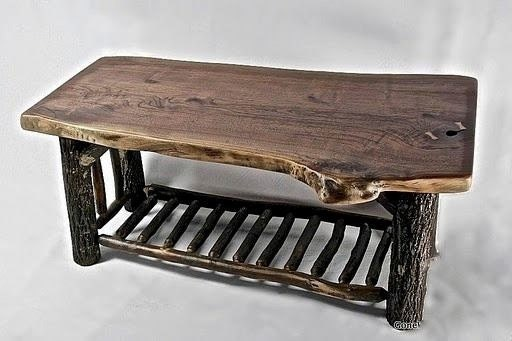 Black Walnut Slab And Hickory Coffee Table By Rusticblues On Etsy