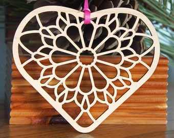 Heart woodcut ornament stylized heart decoration