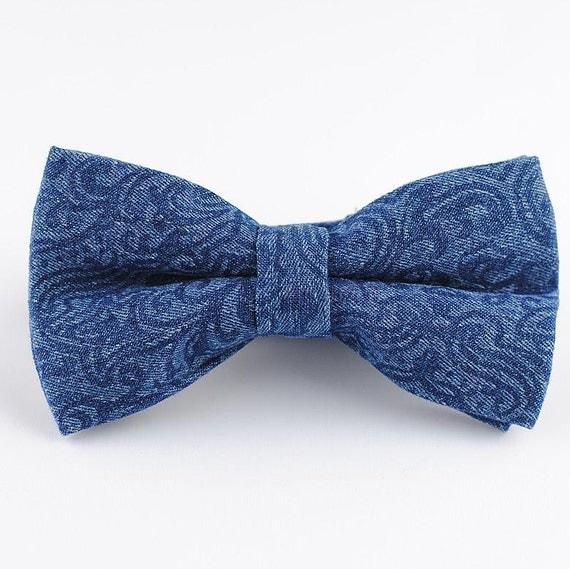 denim bowtie blue floral bow tie mens bow tie bowtie by heysir