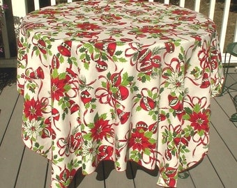 Vintage Christmas Tablecloth Red Green Holly Ornaments