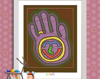 Whimsical dot art Hand of love art Aboriginal inspired dot print adds engagement symbol as 8x10 or 13x19 love marriage wall décor