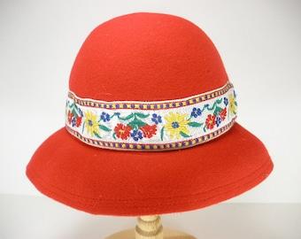 "Vintage RED Wool Cloche Bucket Hat Flapper Bowler 60's 20""s Neumann Endler Fairfield Felts"