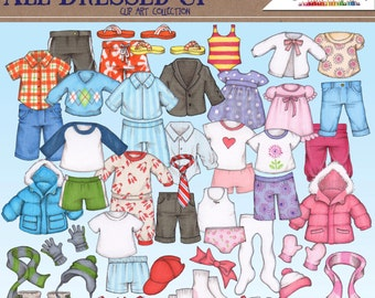 All Dressed Up- Digital clip art, children's clothing