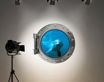 Full Colour Wall Decal Dolphin Sea Silver Porthole Wall Sticker Ocean