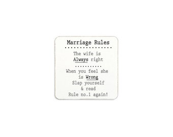 Marriage Rules Novelty Magnet Funny Gift Idea Engagement Wedding Anniversary Present