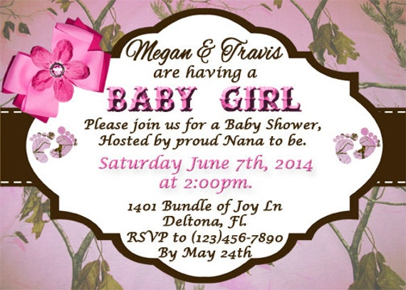 pink camo baby shower invitation printable digital download