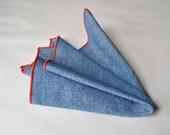 Handmade Cotton Denim Navy Chambray With Red Stitiching Pocket Square Handkerchief