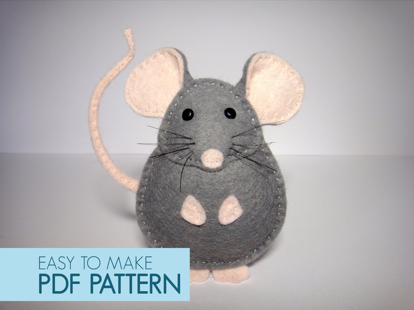 Easy to sew felt PDF pattern. DIY Pablo the Mouse finger