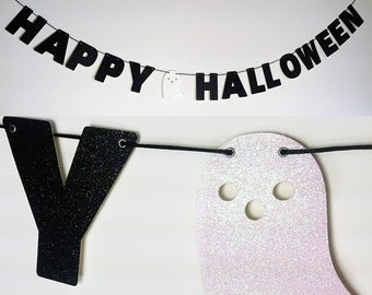 HAPPY HALLOWEEN Glitter Banner Wall Decor Sign - Black With White Ghost - Spooky Party Decoration