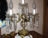 Antique Brass Candelabra with Crystals - Crystal Table Top Lamp