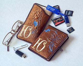 Custom Personalized USB Flash Drive Keeper & Case for eyeglasses or phone Set