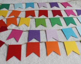 Rainbow Bunting, Rainbow Garland, Rainbow banner, Rainbow, Rainbow nursery, rainbow paper chain, Rainbow kids party, rainbow