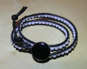White Jade Leather Wrap Bracelet