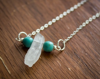 Dyed Blue Howlite Bead and Drilled Clear Quartz Point Pendant with Sterling Silver Wire and Chain