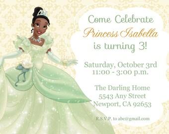 Princess & the Frog Invitation, Tiana, Disney Princess, Kid's Birthday Party Invite, Birthday Invitation