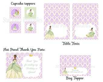 Princess & the Frog Party Pack, Tiana, Disney Princess, cupcake toppers, table tents, thank you note, bag toppers,Kid's Birthday Party