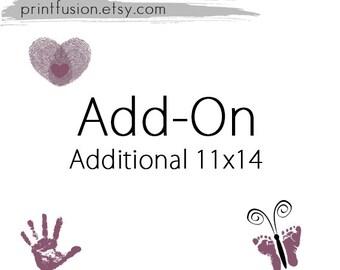 Sale Additional Print 11x14 from PrintFusion Baby Footprint Art Handprint Art Fingerprint Art.