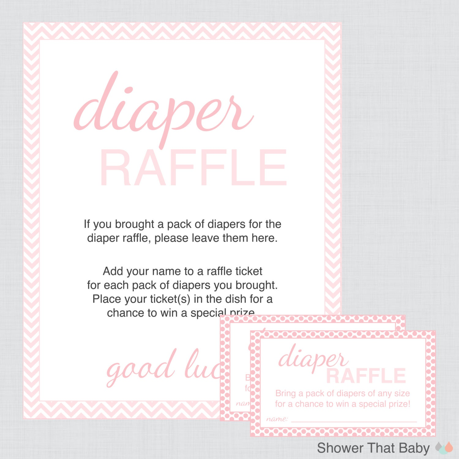 baby shower diaper raffle cards and sign printable instant