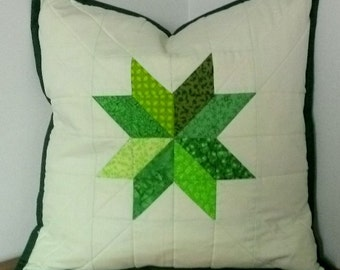 REDUCED.  Handcrafted patchwork cushion cover.  Quilted green star patttern with very pale green background.