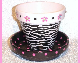 Zesty Zebra Hand-painted  3.5 in Flower Pot and Saucer