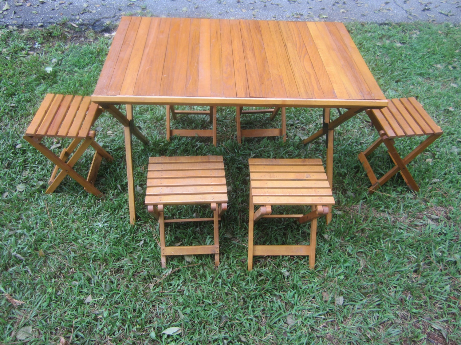Vintage Folding Wooden Camping Dining Table and Chairs by AsAttic