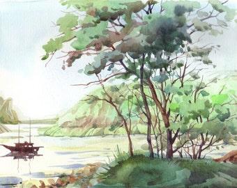 A Bay. Original watercolor painting.