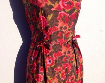 Amazing vintage 50s full SILK autumn floral bow wiggle dress 10 12 small medium