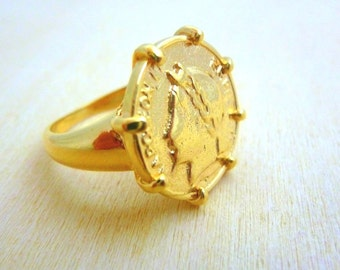 Coin Ring -Gold Filled gold coin ring Coin Jewelry gift for her or him signet coin ring