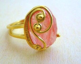 Sherry ring Quartz, GOLD Filled gemstone Ring, filigree gold ring, gold jewelry