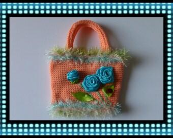 Handmade, Crochet, Peach Handbag / Purse with Turquoise Flowers