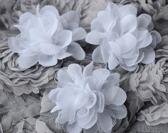 3 Chiffon Tulle Chic Rose Flower White Silk Bridal Wedding Baby Hair Comb Bow Headband Clip Free Shipping 20USD or more SF047