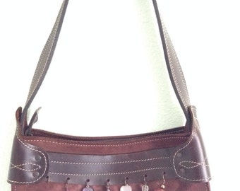 Brazil Made Dark Maroon Brown Genuine Leather Shoulder Handbag with Charms