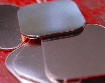 Stamping Blanks Copper Square with rounded corners 18 gauge Deburred -  De-Bured